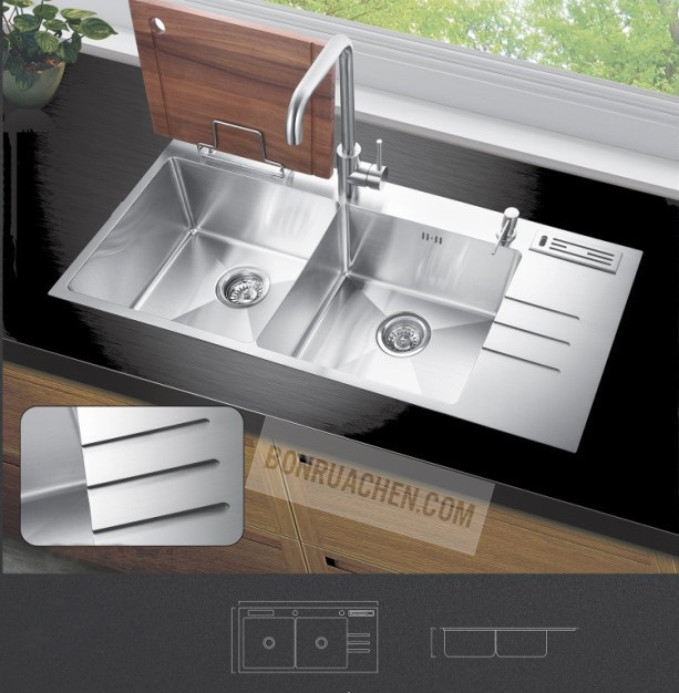 Bồn rửa inox 304 2 ngăn